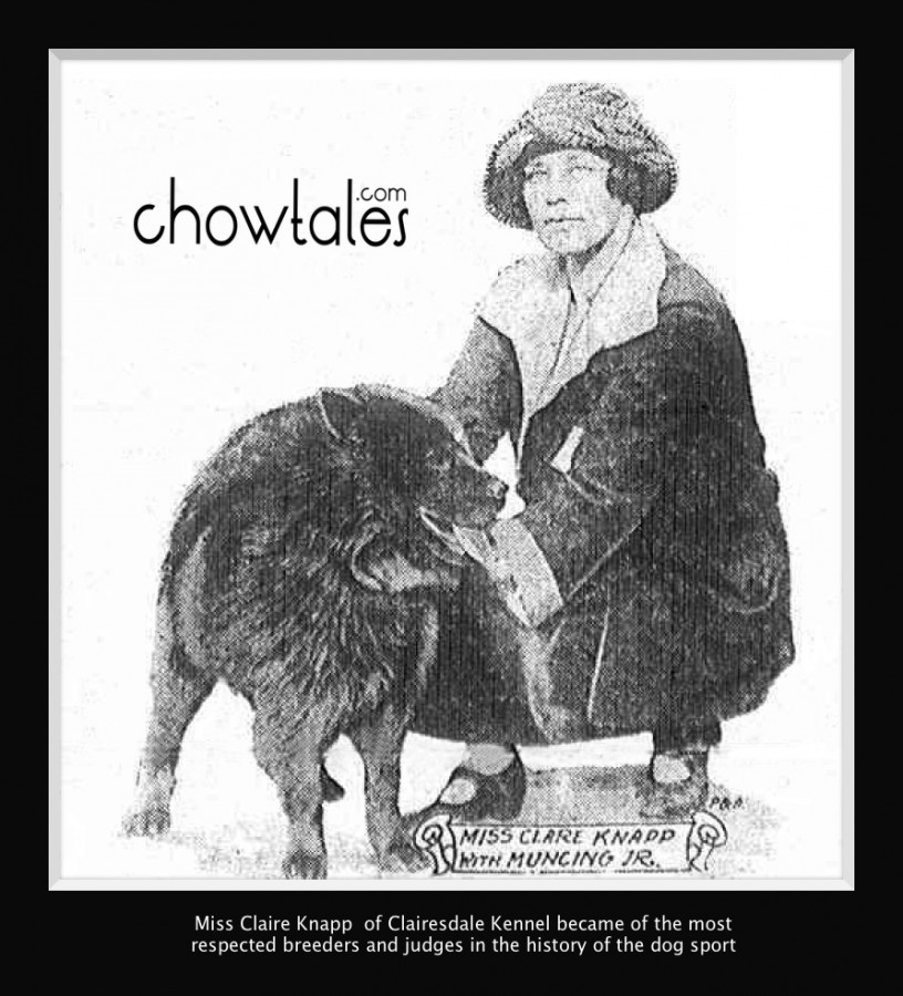 Claire Knapp of Clairedale Chows pictured in 1922 and mentioned in the artlcle