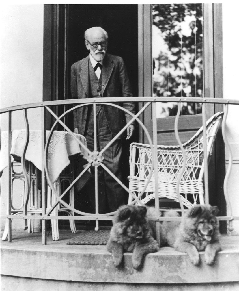 SIGMUND FREUD AND 2 OF HIS CHOWS