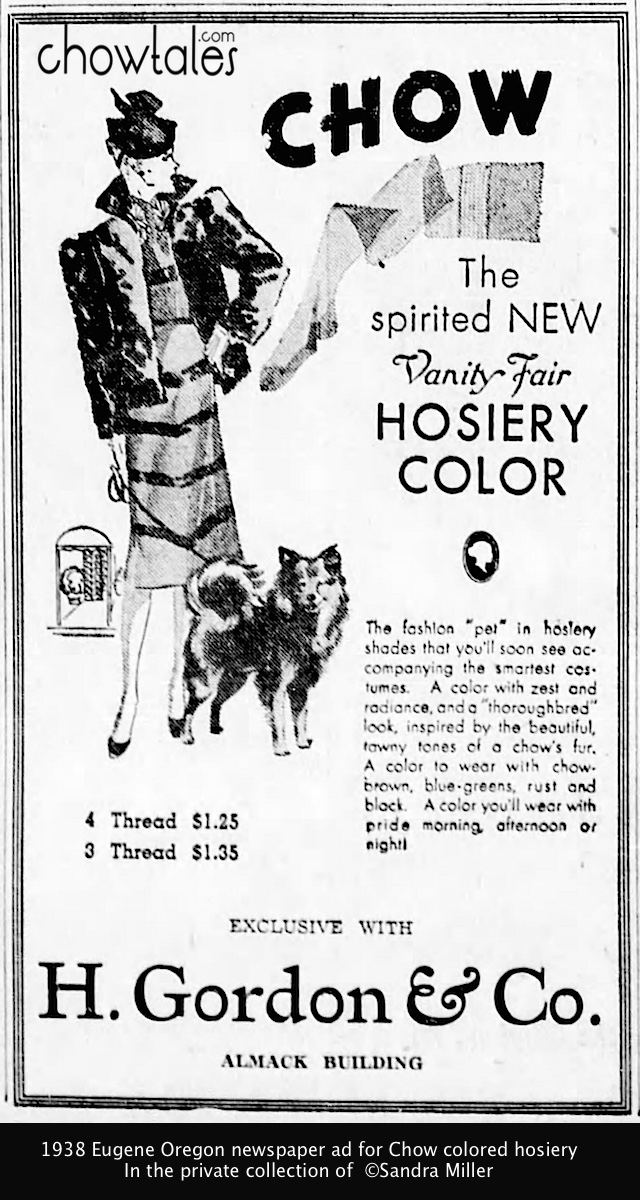 1938 Chow colored hosiery