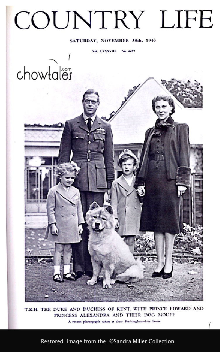 T.R.H. the Duke and Duchess of Kent, with Prince Edward and Princess Alexandra and their dog Mouff. A recent photograph at their Buckinghamshire home. Country Life, November 30, 1940. Read more at http://www.countrylife.co.uk/culture/royal-babies-1940-1949#mBlH2eHLMEplWEwH.99
