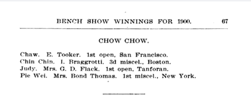 1900 AKC CHow bench show wins