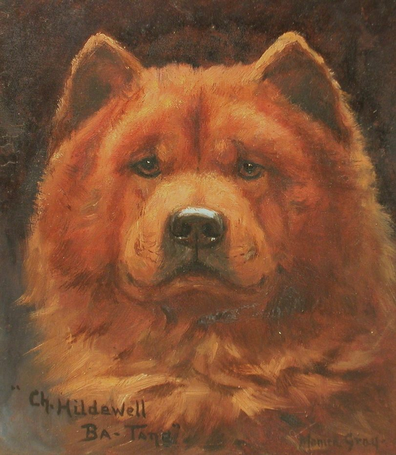 """Oil on Panel painting """"Ch. Hildwell Ba Tang"""" by Monica Gray ca 1910"""